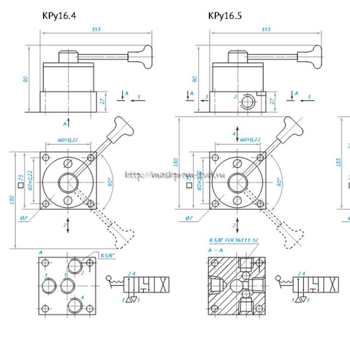 Габаритные размеры пневмораспределитель крановый КРу16.4; КРу16.5