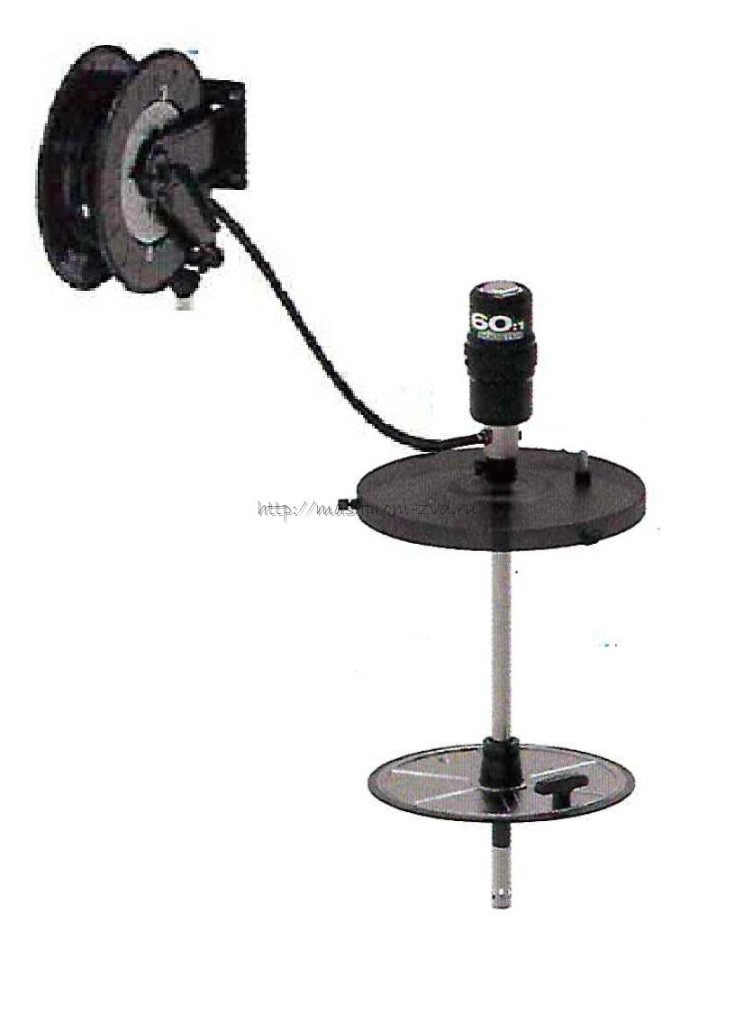 Пневматический солидолонагнетатель PIUSI арт. FK0300040 с насосом 60:1 и катушкой 15 м для бочек 185 кг