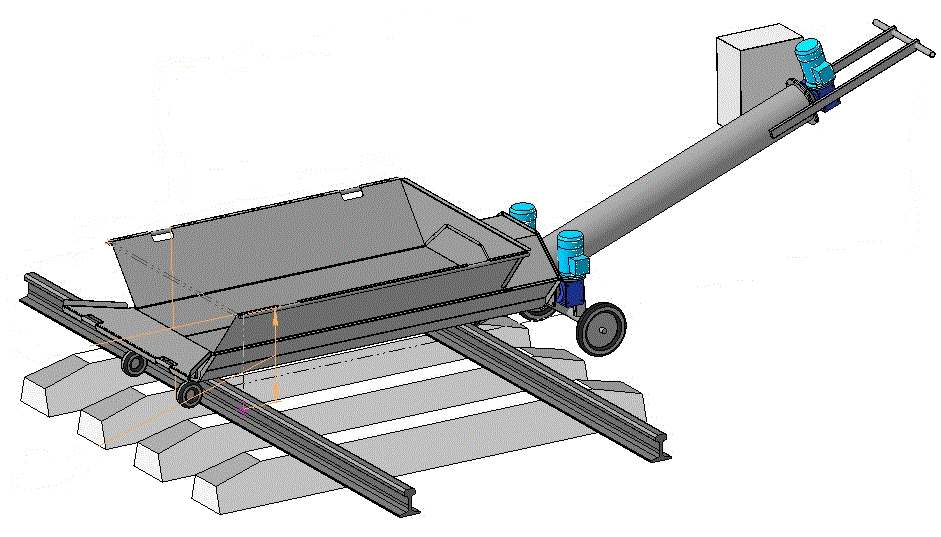Шнековый разгрузчик цементных вагонов-хопперов, разгрузка вагонов с цементом - 45 т/час